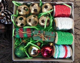 Christmas Gift Wrap Kit--Gift Wrapping Fiber Yarn and Gift Embellishments Christmas Bells(Kit #7)