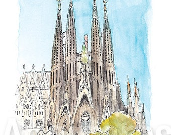 Barcelona Spain / art print from an original watercolor painting