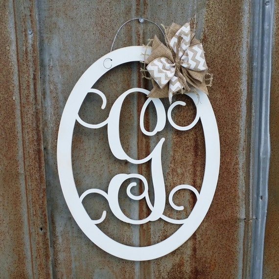 Door Hanger Painted Monogram Wreath Wall Hanging Wooden