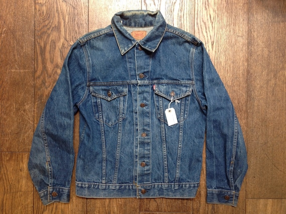 "Vintage Levis blue denim type three trucker denim jacket small e red tab 40"" chest workwear unisex mens womens"