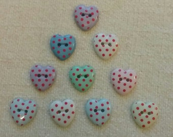 Heart shaped multicoloured buttons with red dots, 2-holes, 10 buttons, #01B