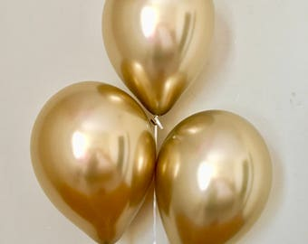 New Chrome Gold 11 inch Latex Balloons~Bridal Shower~ Baby Shower~First Birthday~Wedding~Gold Decor~New Chrome Balloons~Gold Party Decor
