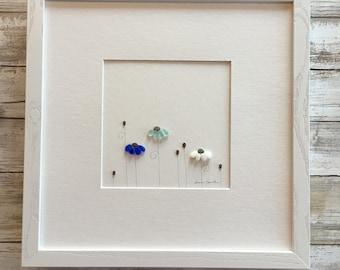Garden, Pebble Art, Minimal Art, Original Art by Sharon Nowlan. Matted or framed, 12in x 12in.
