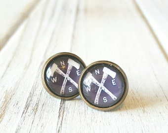 Compass Stud Earrings, With Crossed Axes, Stud Earrings, Compass, Antique Bronze Earrings, Axes, Blue, Gift for her, Bridesmaid gift