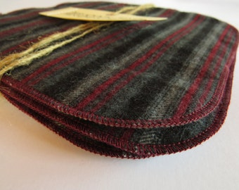 5 x Cloth Wipes - perfect for baby - nappy change or bath time - MCN - flannelette and microfleece - grey black red stripes - unisex