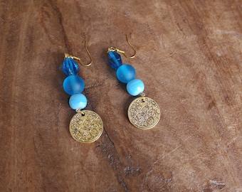 Beautiful blue bead and flower medallion earrings
