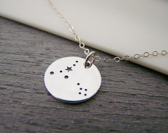 Dainty Sterling Silver Zodiac Pisces Constellation Necklace / Gift for Her