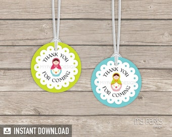 Matryoshka Party - Thank you Tags / Circles - Babushka Party - Russian Doll - INSTANT DOWNLOAD - Printable PDF