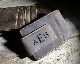 Cowhide leather money clip,personalized leather money clip,personalized money clip,leather money clip,credit card wallet