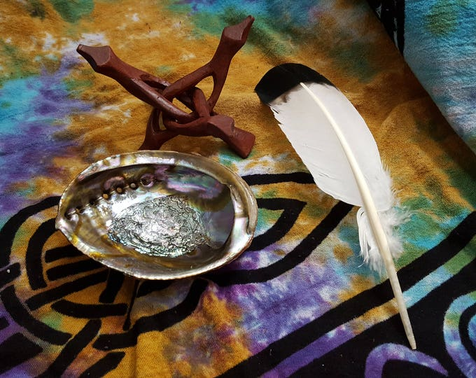 Abalone shell for smudging~ one 5~6 inch abalone shell, stand and feather optional