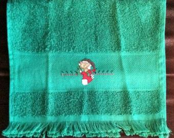 Teddy Bear Stocking Christmas Fingertip Towel in Green