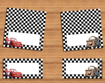 INSTANT DOWNLOAD Cars food labels, assorted mcqueen & mater PRINTABLE food labels (blank labels)