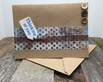 Rustic Card, Blue and Brown Card, Any Occasion Card, Thinking of You Card, Thinking of You, Masculine Card, Thoughtful Card