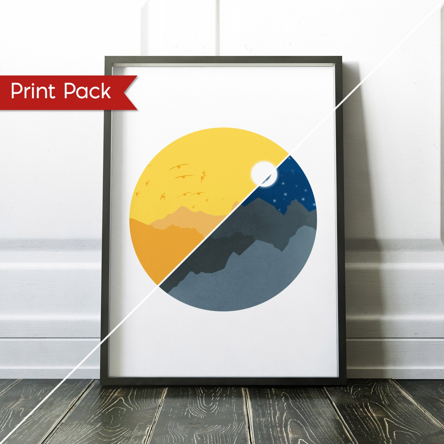 Starry Night and Sunny Day Wall Art Print Set Egyptian Print