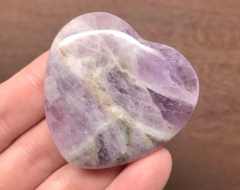 Amethyst Flat Heart 45mm | Worry Stone | Palm Stone #1361