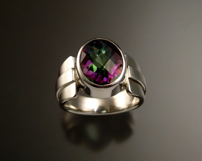 Mystic Topaz ring large checkerboard cut oval stone hand set in Sterling Silver size 7 1/2
