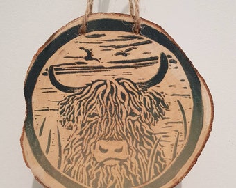 Highland Cow, lino printed hanging decoration