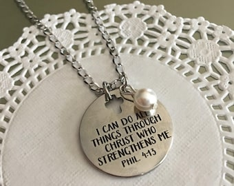 Bible verse jewelry etsy philippians 4 13i can do all thingsnecklacebible verse jewelry negle Images