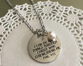 Philippians 4 13,I can do all things,necklace,Bible verse jewelry,Religious jewelry,Confirmation gift,Spiritual jewelry,Inspiration jewelry