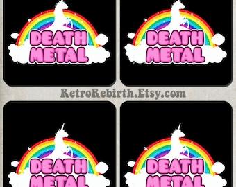 Cute Unicorn Death Metal Parody Funny Drink Coaster Set - Great For Housewarming, Bar & Coffee Table Display - Set Of 4