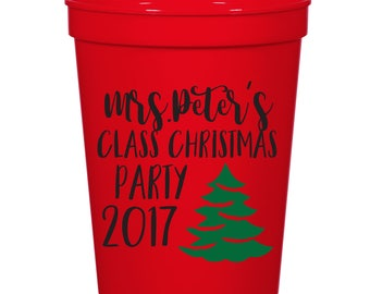 Class Christmas Party- 16 oz. Reusable Plastic Stadium Cup- Minimum Purchase of 12 Cups!