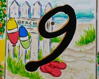 Beachy tiles numbers 1-9 address numbers