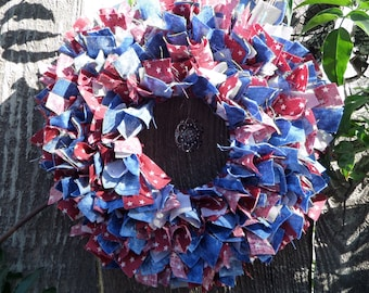 """6"""" Country/ Fourth of July Mini Rag Wreath with Charm"""