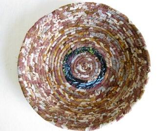 Bowl basket handmade brown coiled fabric