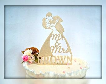 Mr and Mrs Wedding Cake Topper Custom Cake Topper Personalized Rustic Wedding Cake Topper Gold