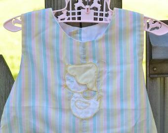 60s Romper Sunsuit Toddler Girl Pastel Stripes Appliqued Chick With Bonnet 2T