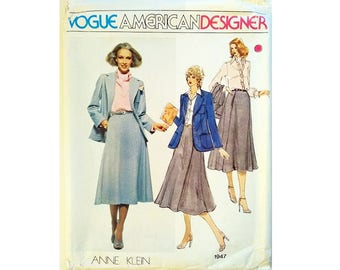 "UNCUT Vintage Vogue American Designer 1947 Anne Klein Blazer Jacket, Skirt, Shirt and Scarf Sewing Pattern Size Bust 36"" UK 14"