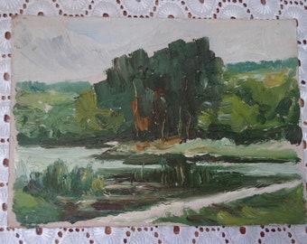 Original Oil Painting, Miniature Oil Painting, Vintage Oil Painting on Cardboard, Summer Landscape
