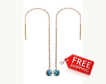 Rose gold evil eye ear threaders, gold plated protection threader earrings, gold plated silver ear threads, rose gold chain earrings