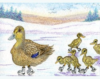 Ice skating ducks 10x8 print
