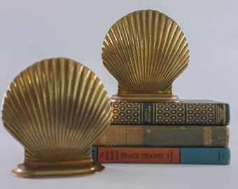 Vintage Brass Shell Bookend Pair