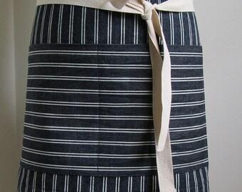 Half Apron Woman Man Japanese Denim Apron Indigo striped denim work apron custom apron