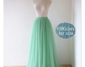 Maxi long tulle skirt, dult wedding bridesmaid tulle skirt,any size women tulle skirt,custom tulle wedding skirt