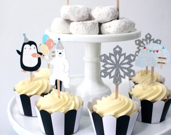 Arctic Party - Cupcake Toppers | Arctic Animals, Penguin, Polar Bear, Igloo, Snowflake | Winter Party Cupcake Toppers | Arctic Party Decor
