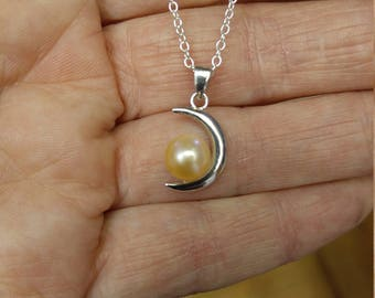925 sterling silver half moon pearl pendant necklace