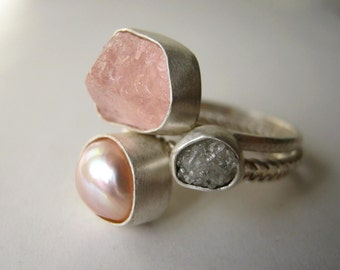 Rough Diamond, Rough Morganite and Natural Pearl Stack Ring Set - Engagement , Wedding, FREE SHIPPING to US and Canada!