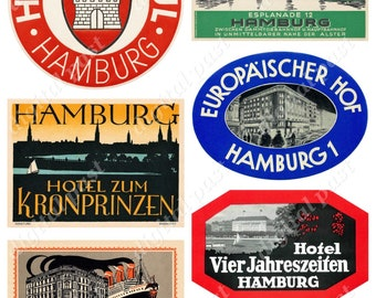 HOTEL HAMBURG ~ Printable Collage Sheet Download ~ 6 vintage German hotel luggage labels - Germany travel stickers, steamer trunk suitcase
