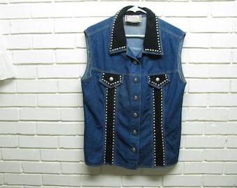 80's Studded Denim Vest size L