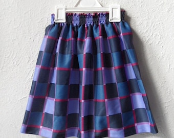 Check It Out - 1980's Purple Checked Skirt - Age 4 to 7