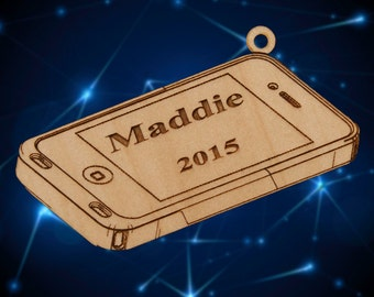 Personalized Wooden Smart Phone Christmas Ornament