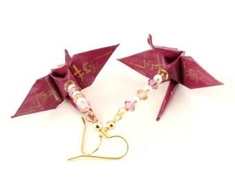 Gold Dream Kanji on Mulberry Origami Crane Earrings Jewelry