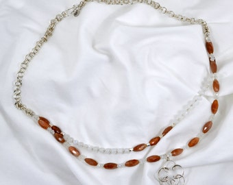 Sunstone and Moonstone - Multi-Strand -  Sterling Silver Necklace - Chainmaille – Vintage - Pendant - Flower - Birthday - OOAK