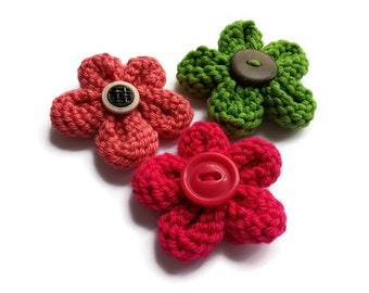 Fleurs en tricot -  3 décorations faits main de 6-7cm