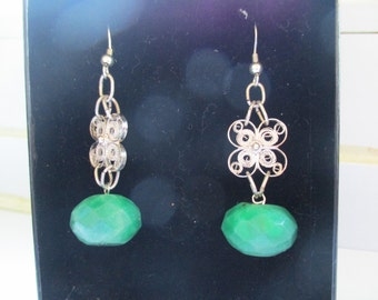 Faceted Emerald Green Quartz, Silver Filligree Drop Earrings, Silver Filligree, Emerald Green Quartz, Drop Earrings