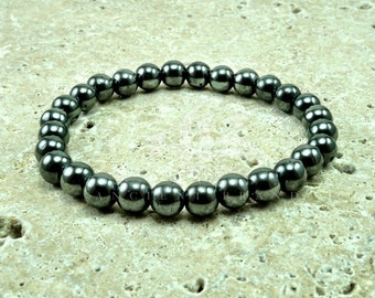 "Men's ""Silver Surfer"" Hematite Beaded Bracelet"
