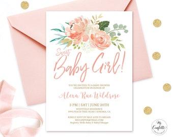 Editable Invitation, Peach Floral Baby Shower ...